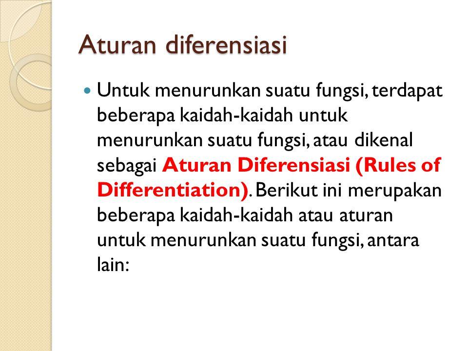Aturan diferensiasi Untuk menurunkan suatu fungsi, terdapat beberapa kaidah-kaidah untuk menurunkan suatu fungsi, atau dikenal sebagai Aturan Diferensiasi (Rules of Differentiation).