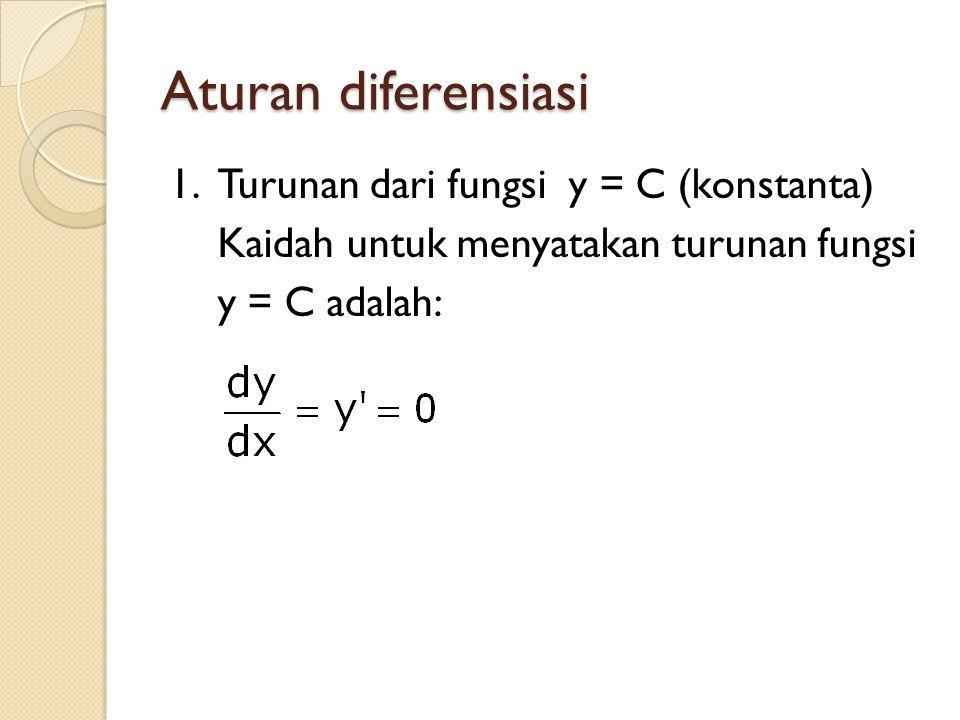 Aturan diferensiasi 1.Turunan dari fungsi y = C (konstanta) Kaidah untuk menyatakan turunan fungsi y = C adalah: