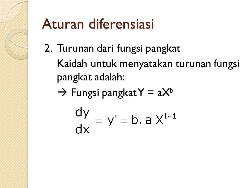 Aturan diferensiasi 2.Turunan dari fungsi pangkat Kaidah untuk menyatakan turunan fungsi pangkat adalah:  Fungsi pangkat Y = aX b