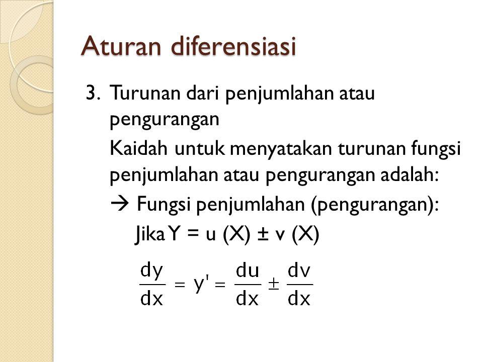 Aturan diferensiasi 3.Turunan dari penjumlahan atau pengurangan Kaidah untuk menyatakan turunan fungsi penjumlahan atau pengurangan adalah:  Fungsi penjumlahan (pengurangan): Jika Y = u (X) ± v (X)