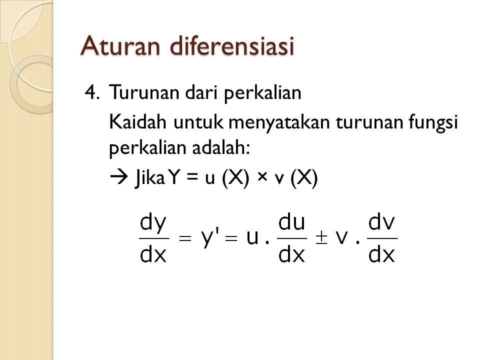Aturan diferensiasi 4.Turunan dari perkalian Kaidah untuk menyatakan turunan fungsi perkalian adalah:  Jika Y = u (X) × v (X)