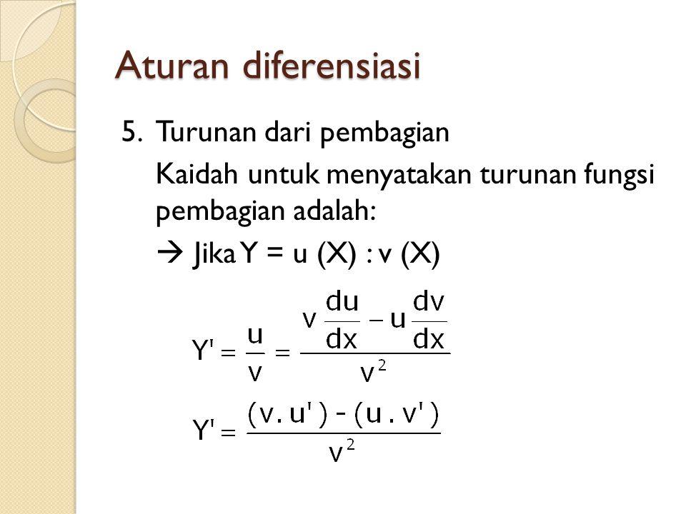 Aturan diferensiasi 5.Turunan dari pembagian Kaidah untuk menyatakan turunan fungsi pembagian adalah:  Jika Y = u (X) : v (X)