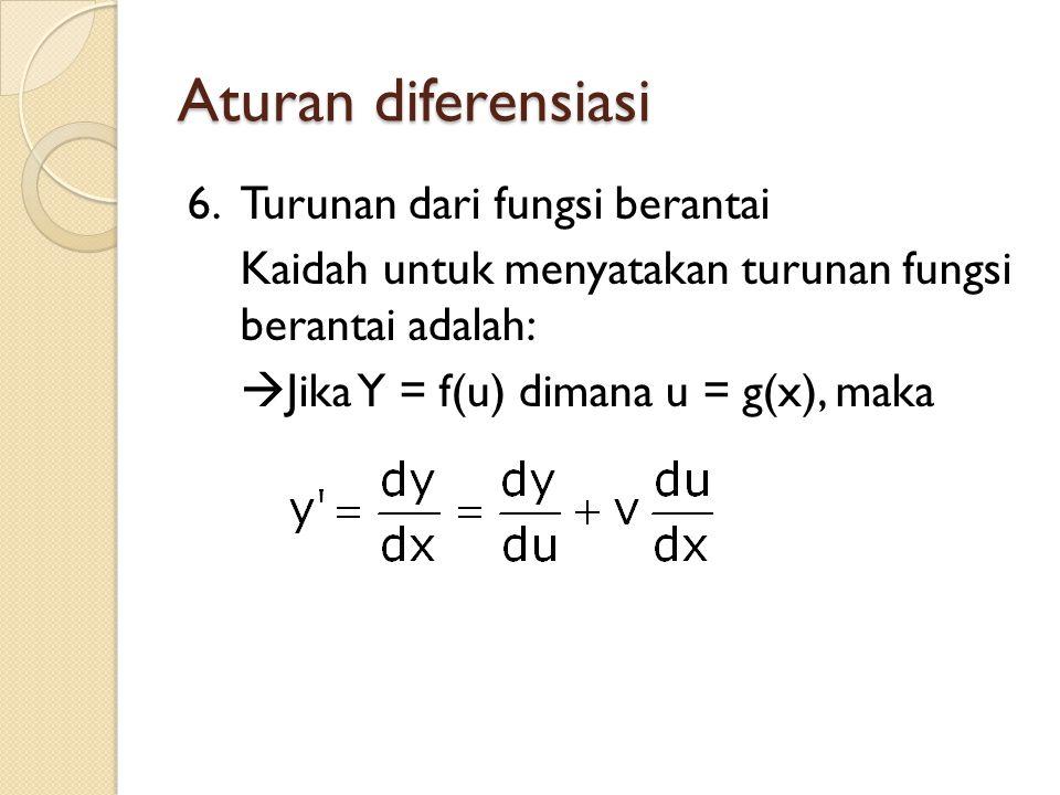 Aturan diferensiasi 6.Turunan dari fungsi berantai Kaidah untuk menyatakan turunan fungsi berantai adalah:  Jika Y = f(u) dimana u = g(x), maka