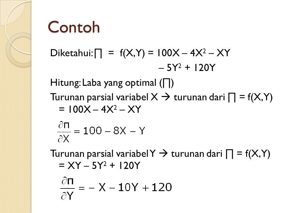 Contoh Diketahui: ∏ = f(X,Y) = 100X – 4X 2 – XY – 5Y 2 + 120Y Hitung: Laba yang optimal (∏) Turunan parsial variabel X  turunan dari ∏ = f(X,Y) = 100X – 4X 2 – XY Turunan parsial variabel Y  turunan dari ∏ = f(X,Y) = XY – 5Y 2 + 120Y