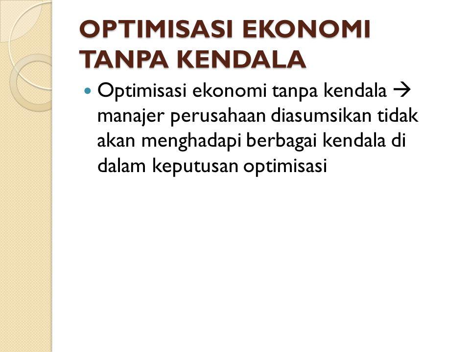OPTIMISASI EKONOMI TANPA KENDALA Optimisasi ekonomi tanpa kendala  manajer perusahaan diasumsikan tidak akan menghadapi berbagai kendala di dalam keputusan optimisasi