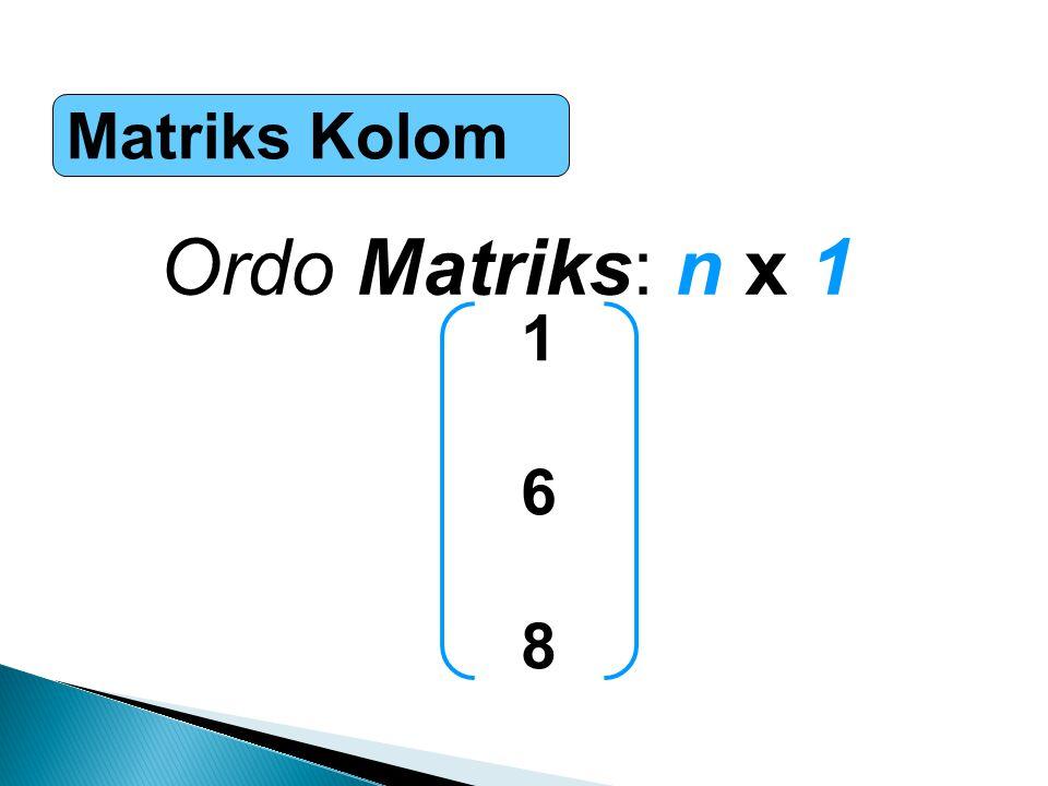 Matriks Kolom Ordo Matriks: n x 1 168168