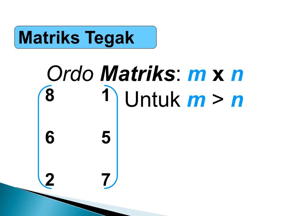 Penjumlahan & Pengurangan Matriks A=A= a11a12 a13a21a22 a23a31a32 a33a11a12 a13a21a22 a23a31a32 a33 B=B= b11b12 b13b21b22 b23b31b32 b33b11b12 b13b21b22 b23b31b32 b33 Ordo matriks harus sama A+B : a ij +b ij A-B : a ij -b ij