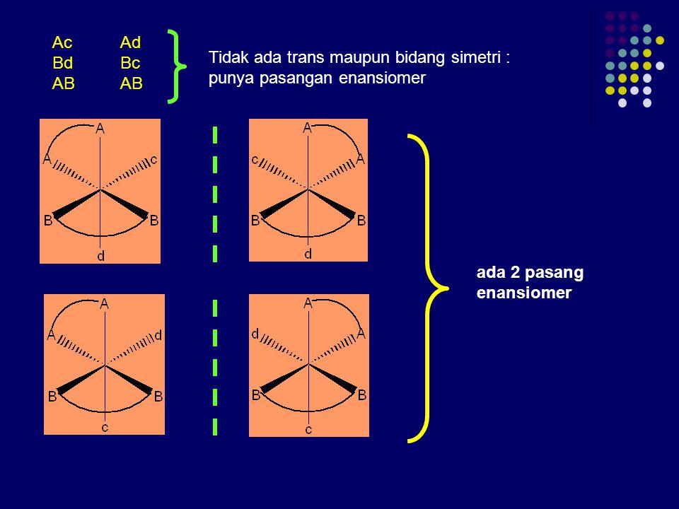 Contoh 2: Buktikan bahwa M(AA)(BB)cd mempunyai 5 stereoisomer dengan 2 pasang enansiomer! Jawab: (AA) dan (BB) kelat  tidak mungkin trans! Model pena