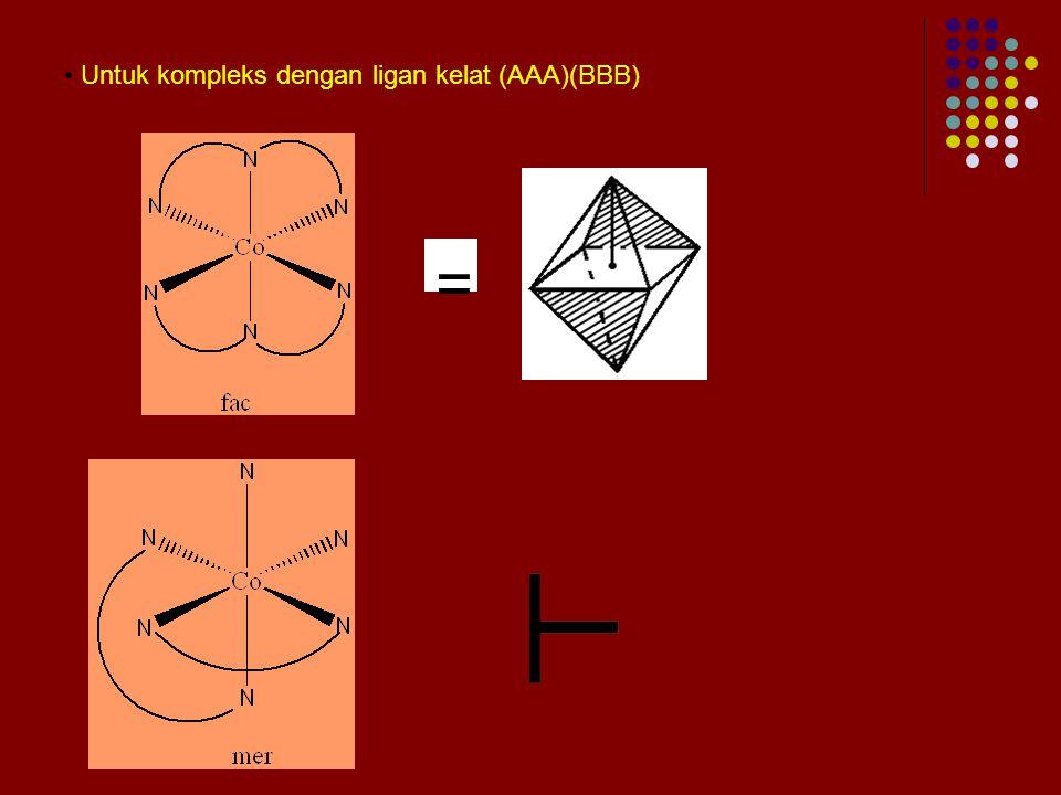 ISOMER FAC DAN MER Untuk kompleks octahedral dengan ligan monodentat ML 3 L' 3 Fac = facial  3 ligan yang sama mengelilingi 1 muka octahedral. Contoh
