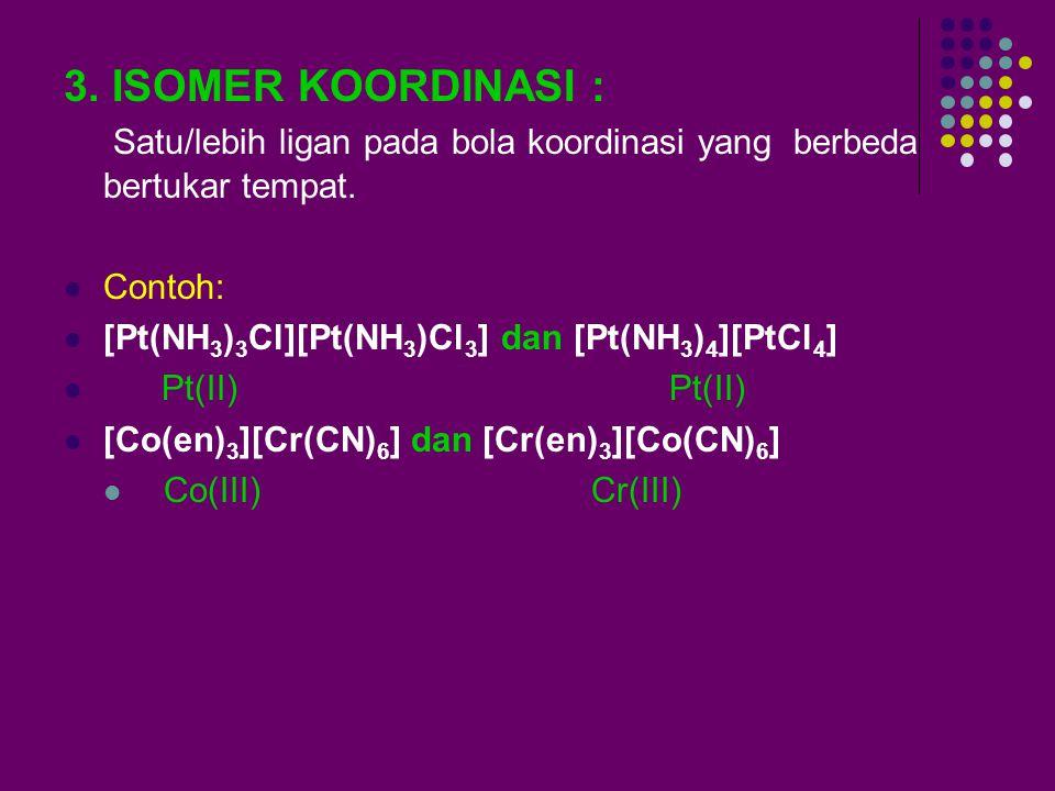 ISOMER KONSTITUSI Ciri : terdapat ligan berbeda dalam bola-bola koordinasi, tetapi secara total pembentuk senyawa (komponen) sama. Macam Isomer Konsti