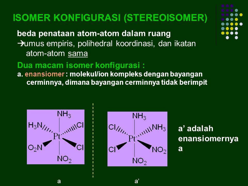 ISOMER KONFIGURASI (STEREOISOMER) beda penataan atom-atom dalam ruang  rumus empiris, polihedral koordinasi, dan ikatan atom-atom sama Dua macam isomer konfigurasi : a.