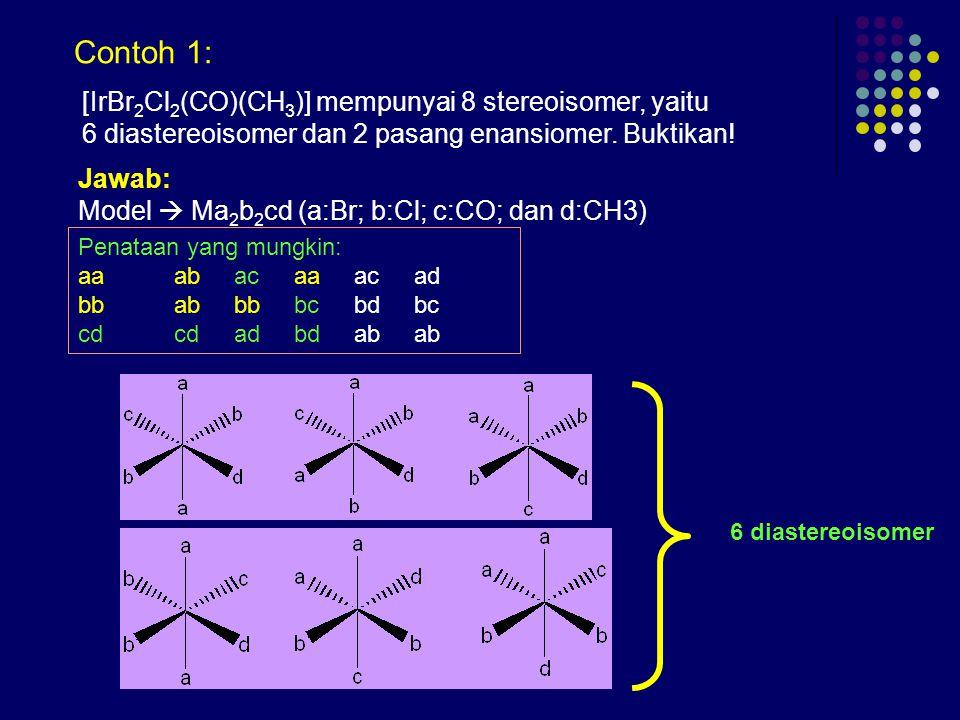 [IrBr 2 Cl 2 (CO)(CH 3 )] mempunyai 8 stereoisomer, yaitu 6 diastereoisomer dan 2 pasang enansiomer.