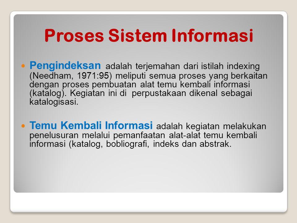 Proses Sistem Informasi Pengindeksan adalah terjemahan dari istilah indexing (Needham, 1971:95) meliputi semua proses yang berkaitan dengan proses pem
