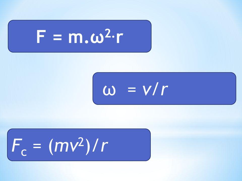 F = m.ω 2. r ω = v/r F c = (mv 2 )/r