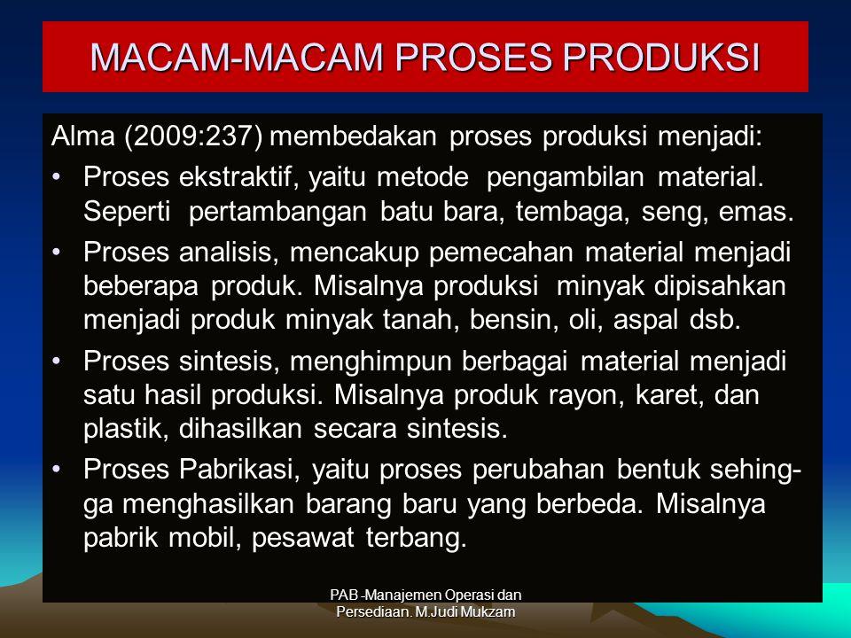 MACAM-MACAM PROSES PRODUKSI Alma (2009:237) membedakan proses produksi menjadi: Proses ekstraktif, yaitu metode pengambilan material. Seperti pertamba