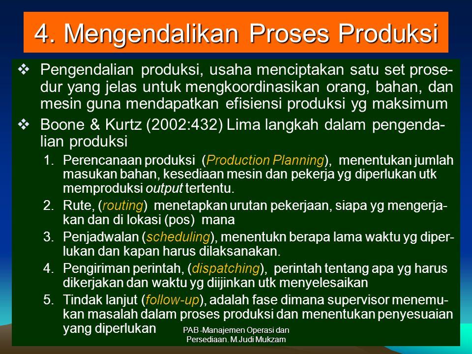 4. Mengendalikan Proses Produksi  Pengendalian produksi, usaha menciptakan satu set prose- dur yang jelas untuk mengkoordinasikan orang, bahan, dan m