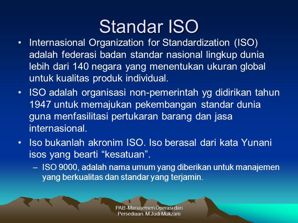 Standar ISO Internasional Organization for Standardization (ISO) adalah federasi badan standar nasional lingkup dunia lebih dari 140 negara yang menentukan ukuran global untuk kualitas produk individual.
