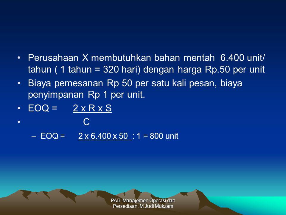 Perusahaan X membutuhkan bahan mentah 6.400 unit/ tahun ( 1 tahun = 320 hari) dengan harga Rp.50 per unit Biaya pemesanan Rp 50 per satu kali pesan, biaya penyimpanan Rp 1 per unit.