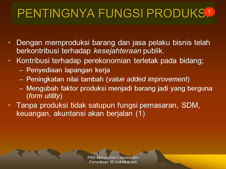 PENTINGNYA FUNGSI PRODUKSI Dengan memproduksi barang dan jasa pelaku bisnis telah berkontribusi terhadap kesejahteraan publik.