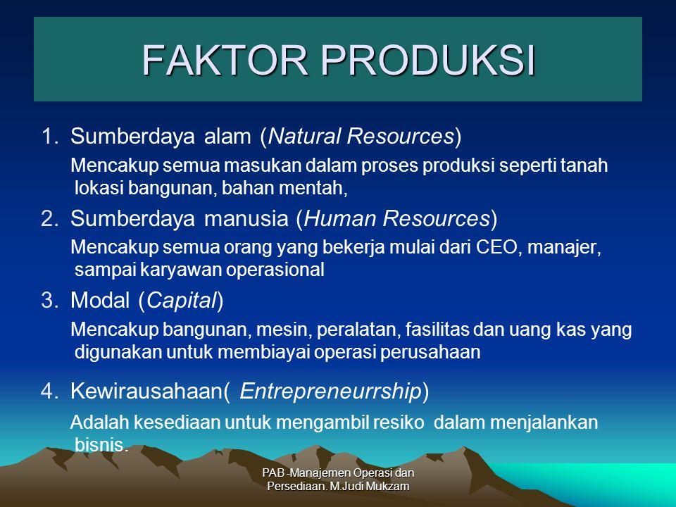 FAKTOR PRODUKSI 1.Sumberdaya alam (Natural Resources) Mencakup semua masukan dalam proses produksi seperti tanah lokasi bangunan, bahan mentah, 2.Sumb