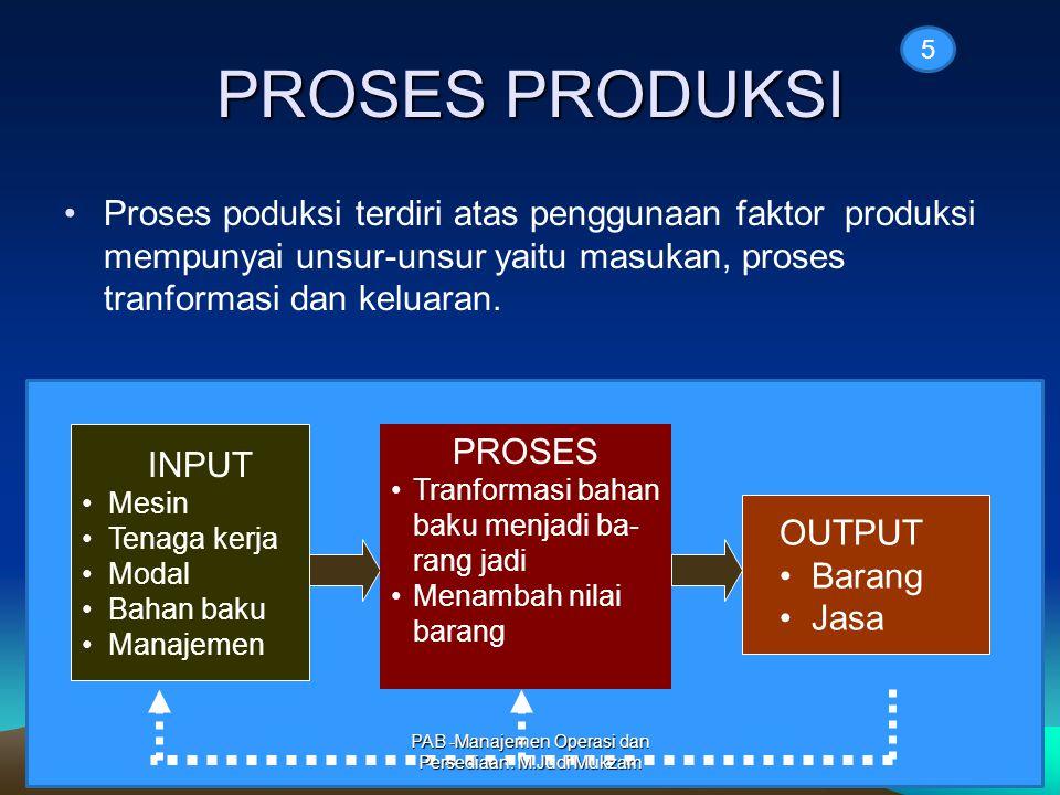 PROSES PRODUKSI Proses poduksi terdiri atas penggunaan faktor produksi mempunyai unsur-unsur yaitu masukan, proses tranformasi dan keluaran.