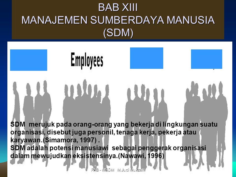 BAB XIII MANAJEMEN SUMBERDAYA MANUSIA (SDM) SDM merujuk pada orang-orang yang bekerja di lingkungan suatu organisasi, disebut juga personil, tenaga ke
