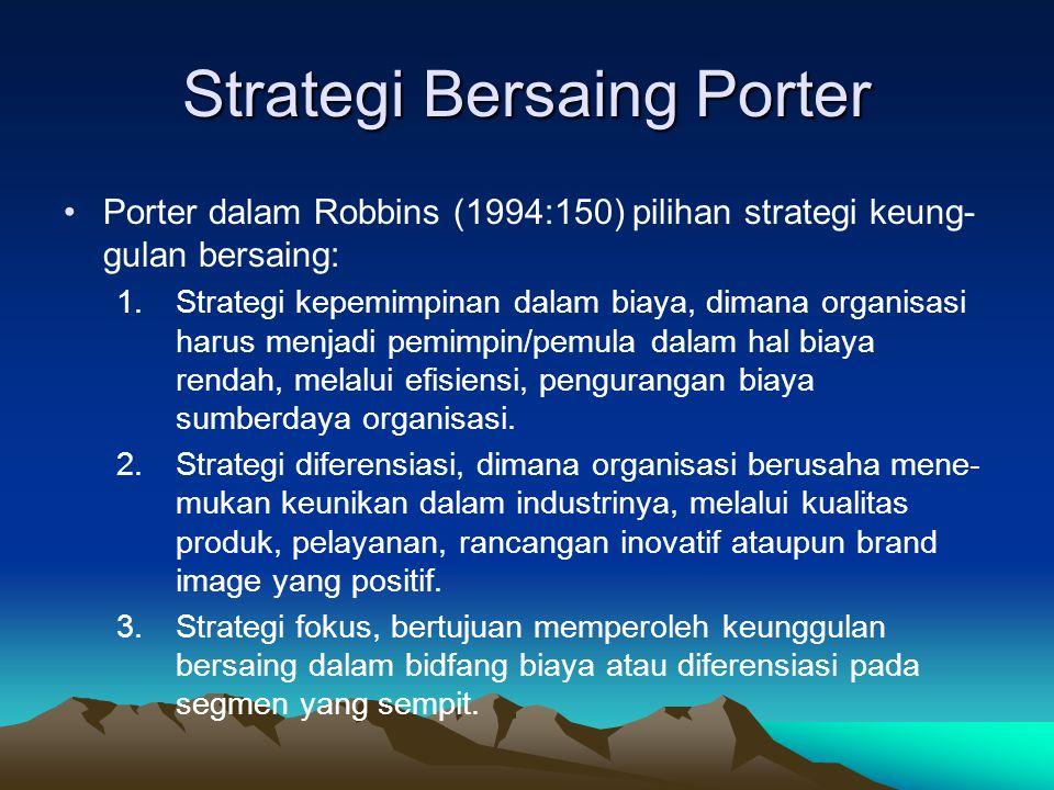 Strategi Bersaing Porter Porter dalam Robbins (1994:150) pilihan strategi keung- gulan bersaing: 1.Strategi kepemimpinan dalam biaya, dimana organisas