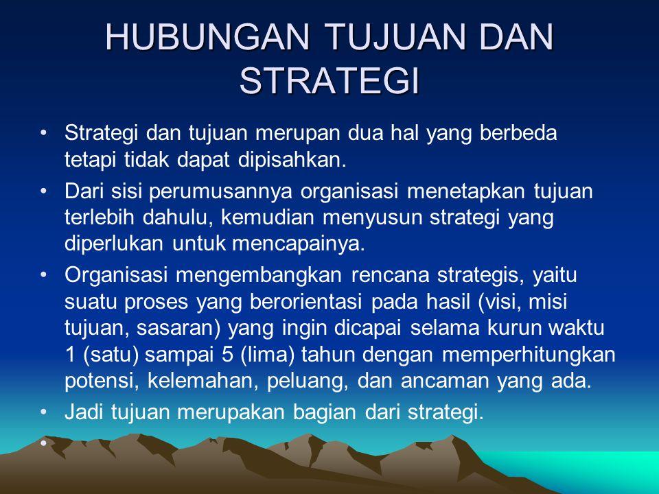 HUBUNGAN TUJUAN DAN STRATEGI Strategi dan tujuan merupan dua hal yang berbeda tetapi tidak dapat dipisahkan. Dari sisi perumusannya organisasi menetap