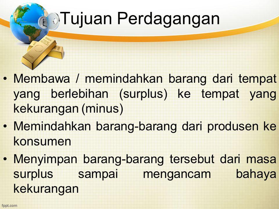 Tujuan Perdagangan Membawa / memindahkan barang dari tempat yang berlebihan (surplus) ke tempat yang kekurangan (minus) Memindahkan barang-barang dari
