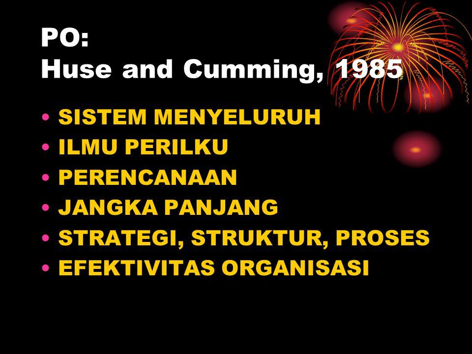 PO: Huse and Cumming, 1985 SISTEM MENYELURUH ILMU PERILKU PERENCANAAN JANGKA PANJANG STRATEGI, STRUKTUR, PROSES EFEKTIVITAS ORGANISASI
