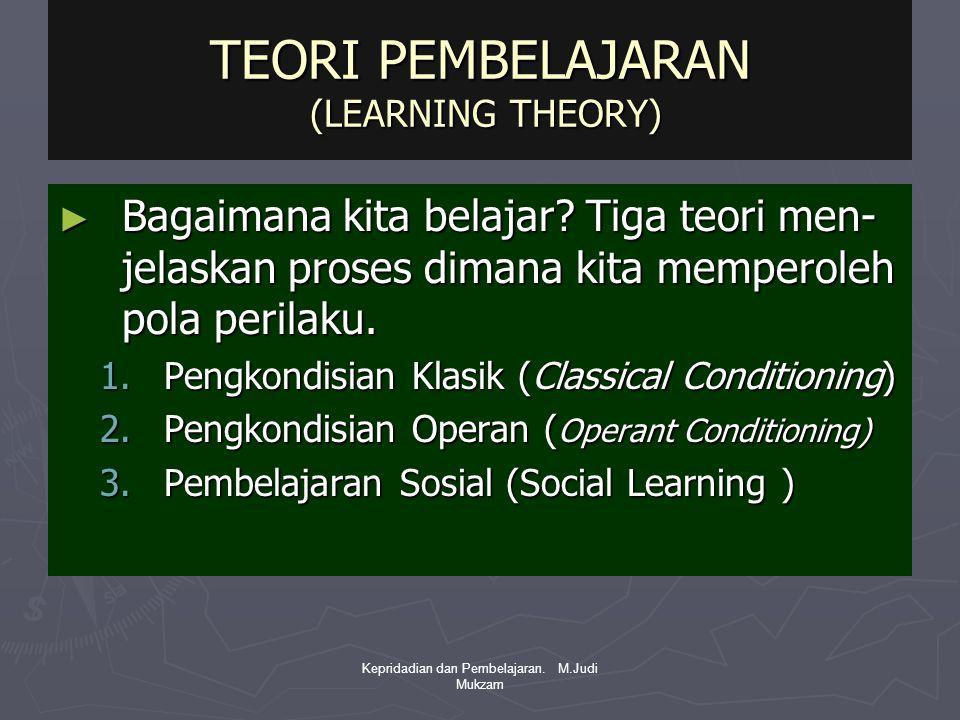 TEORI PEMBELAJARAN (LEARNING THEORY) ► Bagaimana kita belajar? Tiga teori men- jelaskan proses dimana kita memperoleh pola perilaku. 1.Pengkondisian K