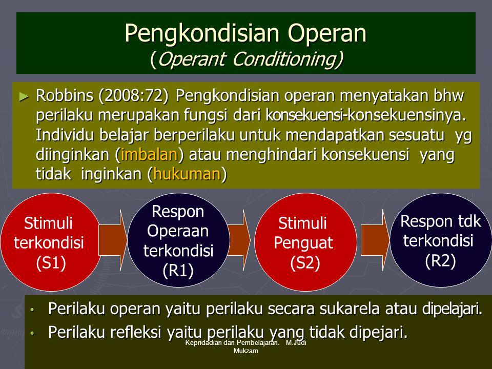 Pengkondisian Operan (Operant Conditioning) ► Robbins (2008:72) Pengkondisian operan menyatakan bhw perilaku merupakan fungsi dari konsekuensi-konseku