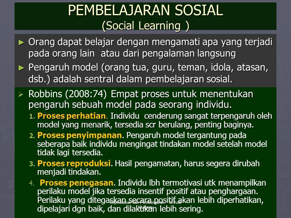 PEMBELAJARAN SOSIAL (Social Learning ) ► Orang dapat belajar dengan mengamati apa yang terjadi pada orang lain atau dari pengalaman langsung ► Pengaru