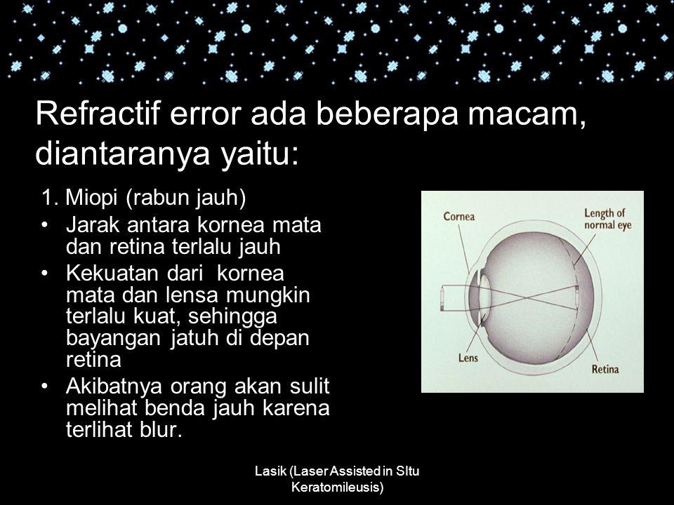 Lasik (Laser Assisted in SItu Keratomileusis) Refractif error ada beberapa macam, diantaranya yaitu: 1. Miopi (rabun jauh) Jarak antara kornea mata da