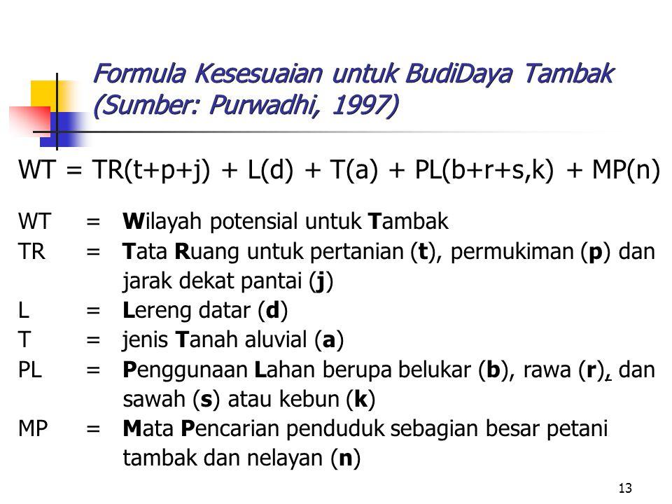 13 Formula Kesesuaian untuk BudiDaya Tambak (Sumber: Purwadhi, 1997) WT = TR(t+p+j) + L(d) + T(a) + PL(b+r+s,k) + MP(n) WT= Wilayah potensial untuk Ta