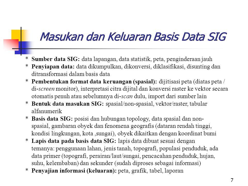 7 Masukan dan Keluaran Basis Data SIG * Sumber data SIG: data lapangan, data statistik, peta, penginderaan jauh * Penyiapan data: data dikumpulkan, di