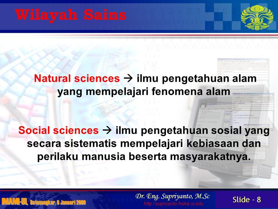 Slide - 9 IMAMI-UI, Batusangkar, 6 Januari 2009 Dr.