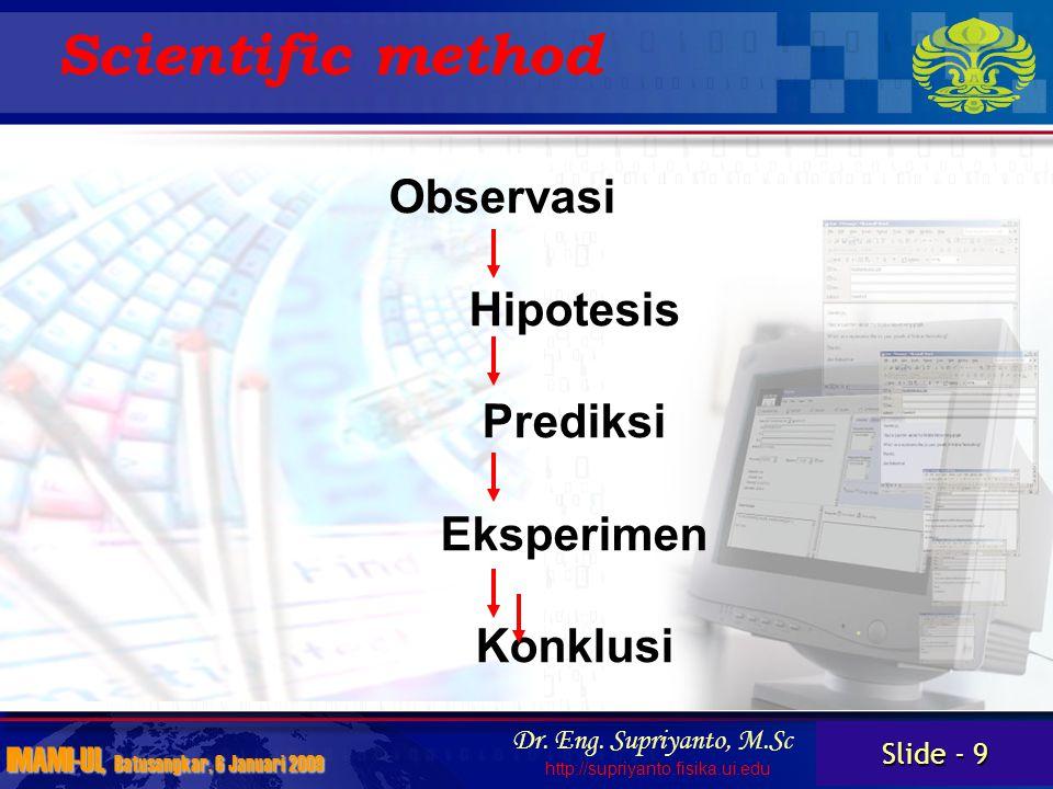 Slide - 10 IMAMI-UI, Batusangkar, 6 Januari 2009 Dr.