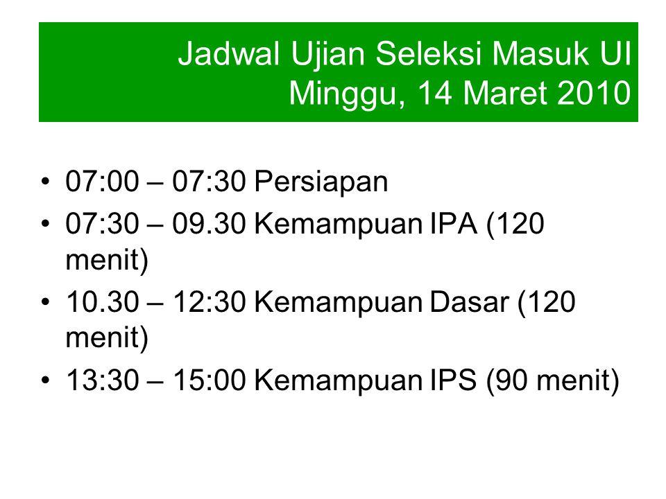 07:00 – 07:30 Persiapan 07:30 – 09.30 Kemampuan IPA (120 menit) 10.30 – 12:30 Kemampuan Dasar (120 menit) 13:30 – 15:00 Kemampuan IPS (90 menit) Jadwa