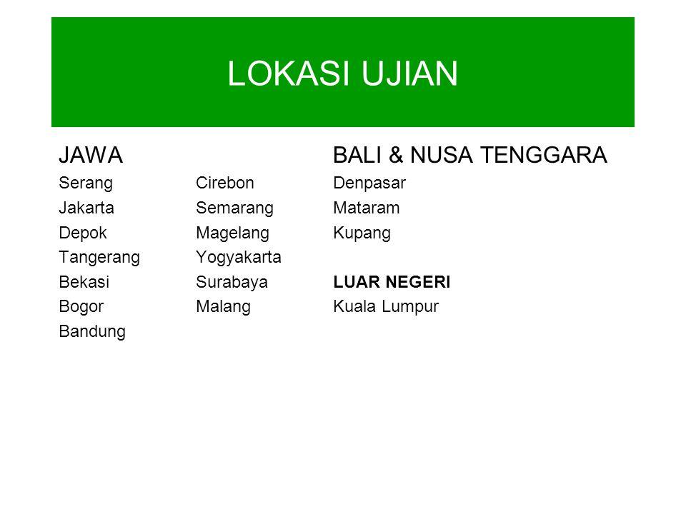 JAWABALI & NUSA TENGGARA SerangCirebonDenpasar JakartaSemarangMataram DepokMagelangKupang TangerangYogyakarta BekasiSurabayaLUAR NEGERI BogorMalangKuala Lumpur Bandung