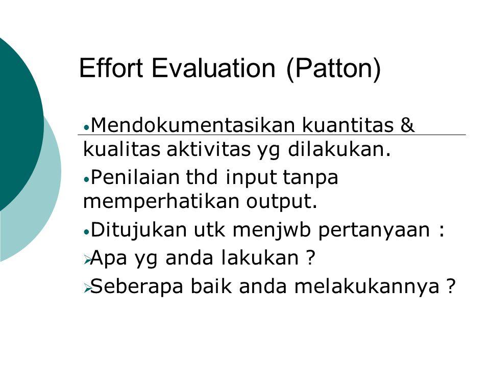 Process Evaluation (Patton)  Terfokus pd dinamika internal & pelaksanaan program dlm upaya utk memahami kekuatan2 & kelemahan2nya.