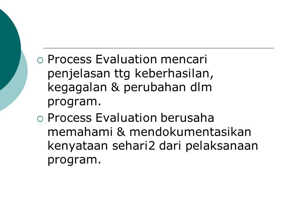  Process evaluation Tdk hanya melihat aktivitas formal & outcome yg diantisipasi, ttp jg mempelajari pola2 informal & konsekuensi2 yg tdk diantisipasi dlm konteks pelaksanaan program & perkembangan program.