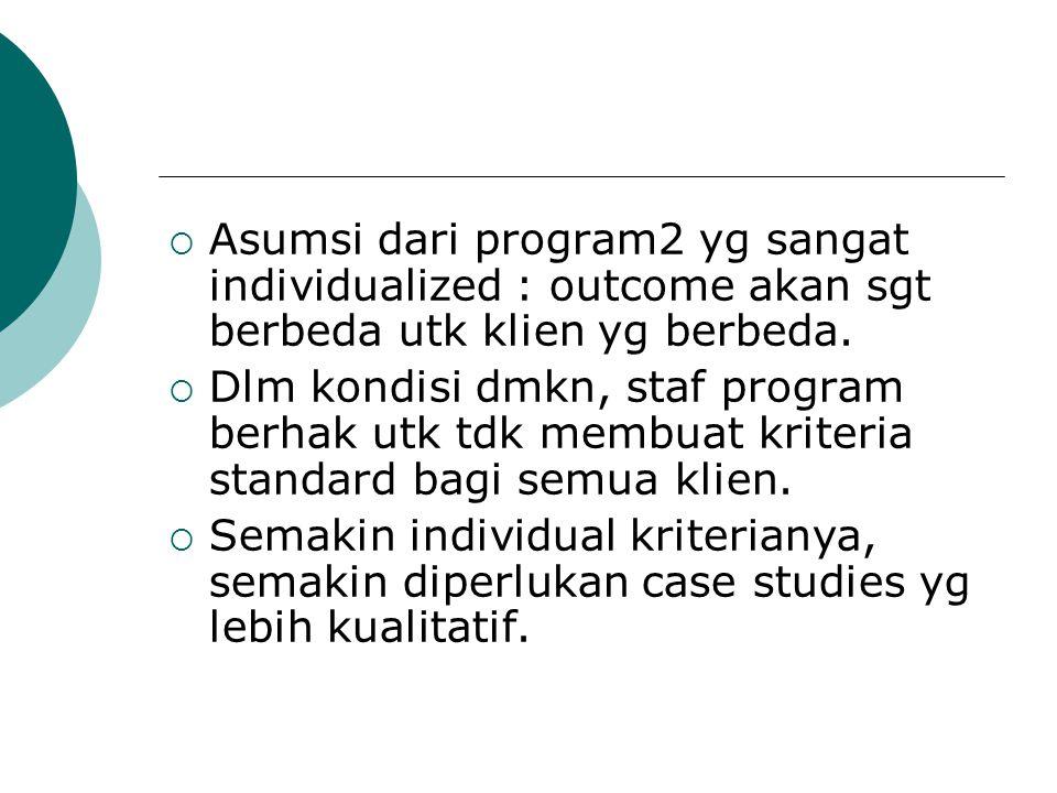  Asumsi dari program2 yg sangat individualized : outcome akan sgt berbeda utk klien yg berbeda.