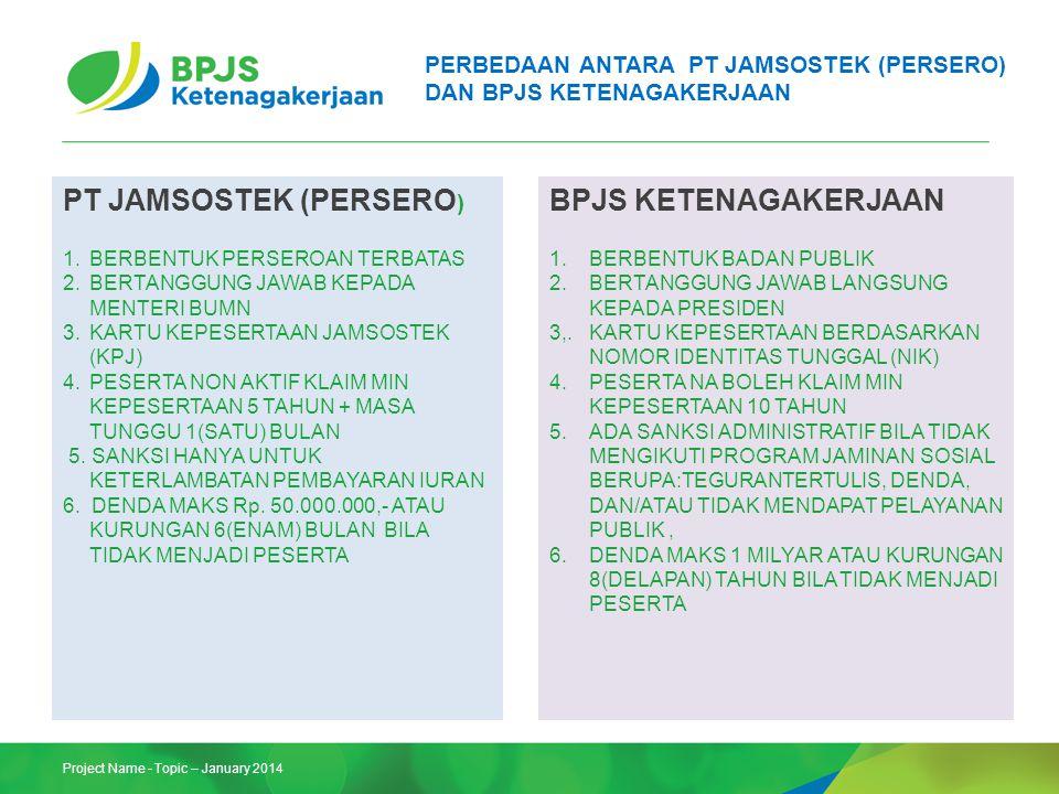 Project Name - Topic – January 2014 PERBEDAAN ANTARA PT JAMSOSTEK (PERSERO) DAN BPJS KETENAGAKERJAAN PT JAMSOSTEK (PERSERO ) 1.BERBENTUK PERSEROAN TER