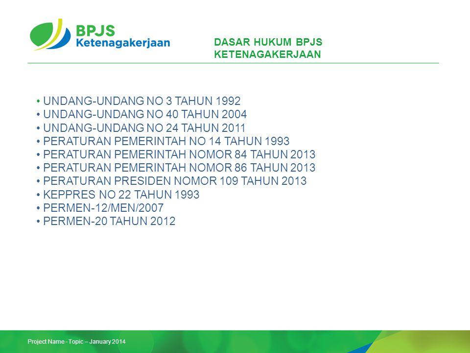 Project Name - Topic – January 2014 DASAR HUKUM BPJS KETENAGAKERJAAN UNDANG-UNDANG NO 3 TAHUN 1992 UNDANG-UNDANG NO 40 TAHUN 2004 UNDANG-UNDANG NO 24