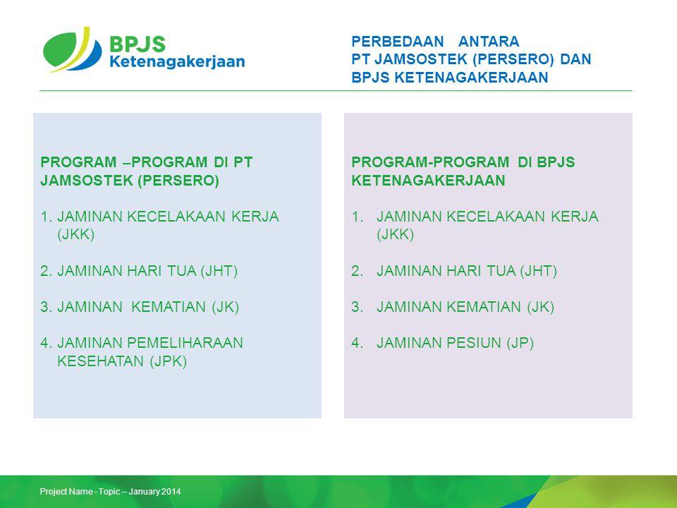 Project Name - Topic – January 2014 PERBEDAAN ANTARA PT JAMSOSTEK (PERSERO) DAN BPJS KETENAGAKERJAAN PROGRAM –PROGRAM DI PT JAMSOSTEK (PERSERO) 1.JAMI