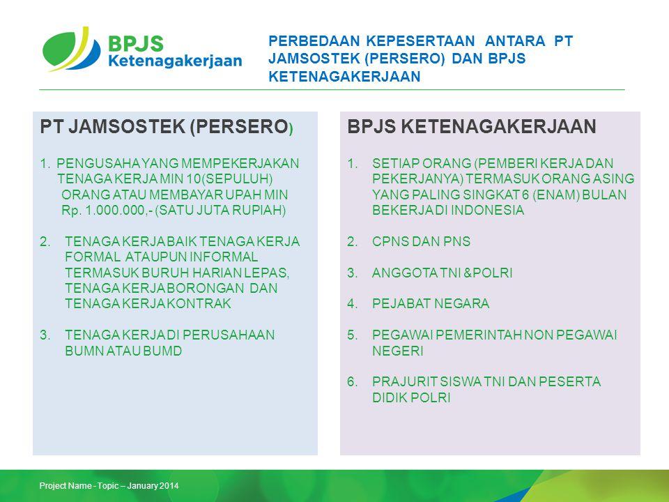 Project Name - Topic – January 2014 PERBEDAAN KEPESERTAAN ANTARA PT JAMSOSTEK (PERSERO) DAN BPJS KETENAGAKERJAAN PT JAMSOSTEK (PERSERO ) 1.PENGUSAHA Y