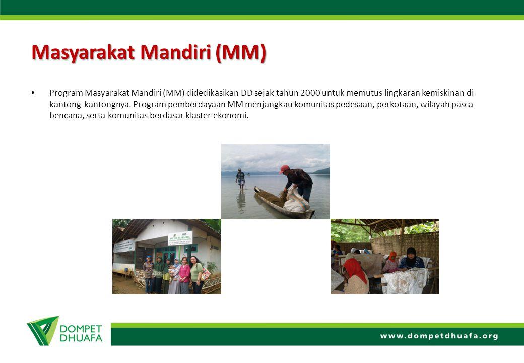Masyarakat Mandiri (MM) Program Masyarakat Mandiri (MM) didedikasikan DD sejak tahun 2000 untuk memutus lingkaran kemiskinan di kantong-kantongnya. Pr