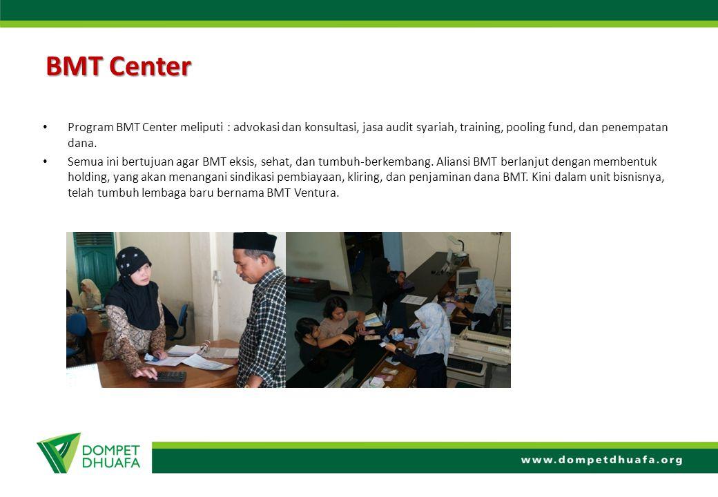 BMT Center Program BMT Center meliputi : advokasi dan konsultasi, jasa audit syariah, training, pooling fund, dan penempatan dana. Semua ini bertujuan