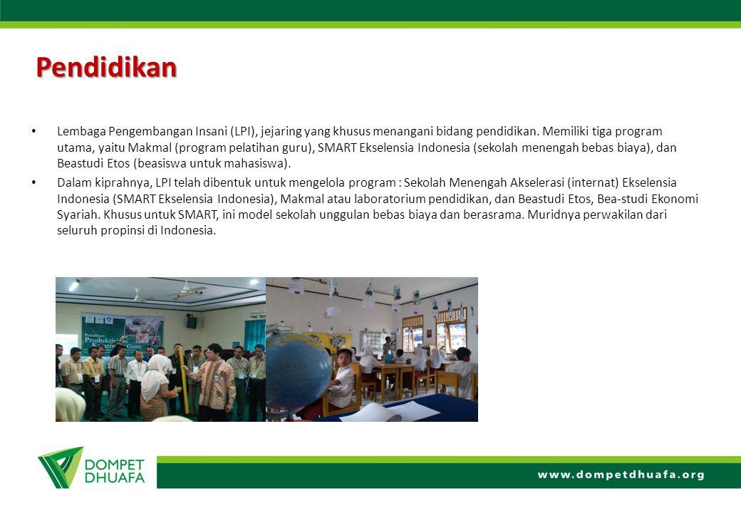 Pendidikan Lembaga Pengembangan Insani (LPI), jejaring yang khusus menangani bidang pendidikan. Memiliki tiga program utama, yaitu Makmal (program pel